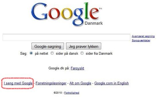 HTML manipuleret billede af Googles forside