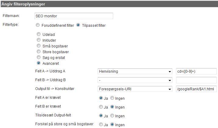 Opsætning af filter til at lave virtuelle pageviews med SEO rank info