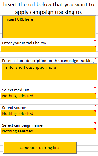 Web analytics campaign URL builder for a strict data policy